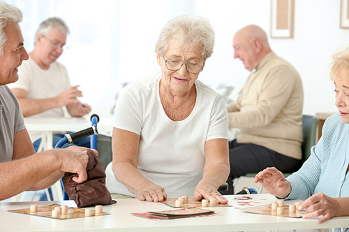 seniors playing games at Independent Senior Living Homes