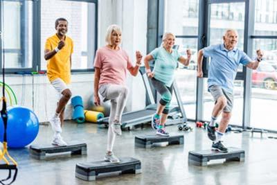 senior aerobics during Senior Living Health Programs