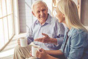 senior talking to daughter about residential senior living options in bradenton, fl