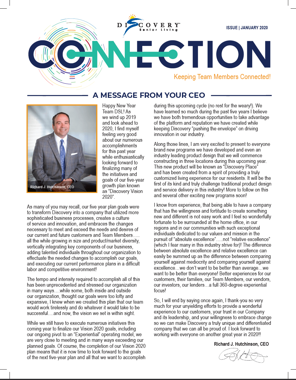 message from ceo in the latest senior living news